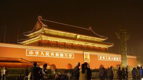 Forbidden City in Beijing China,Tiananmen & crowd at... Stock Video Footage