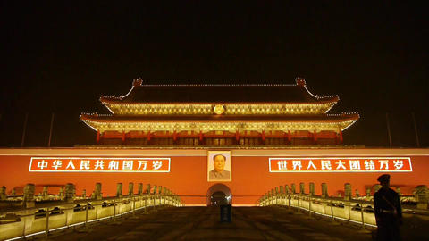 police stand guard in front of Tiananmen Beijing... Stock Video Footage