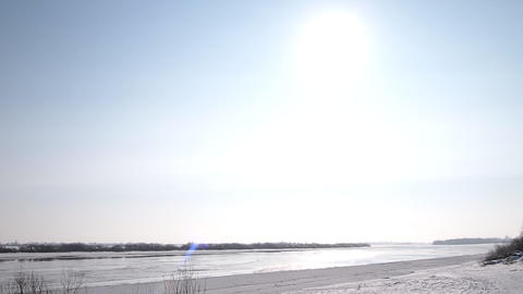 sun over the river Stock Video Footage