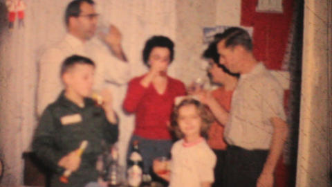 Family Celebrating New Years 1964 Vintage 8mm film Footage