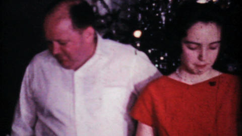 Girl In Her Red Christmas Dress With Parents 1964 Vintage... Stock Video Footage
