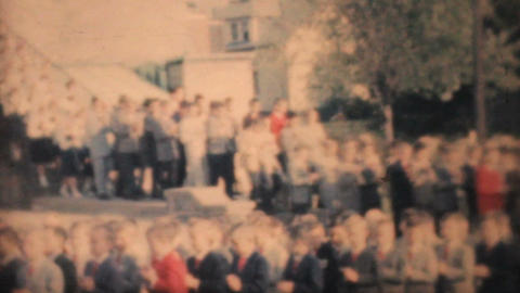 Graduating Students Pour Out Of Catholic School 1964... Stock Video Footage