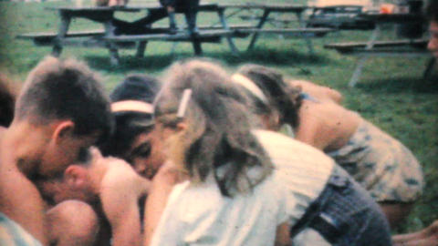 Kids At A Candy Scramble In The Park 1964 Vintage 8mm film Stock Video Footage