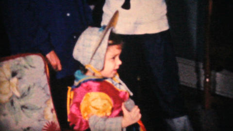 Little Girl In Her Halloween Costume 1964 Vintage 8mm film Stock Video Footage