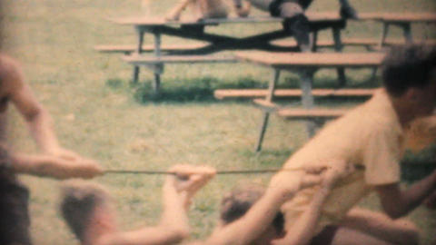 People Doing A Tug Of War At The Park 1964 Vintage 8mm film Stock Video Footage