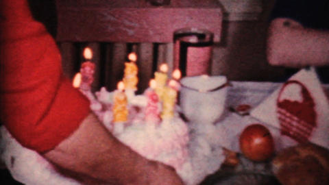 Girl Celebrates Her 10th Birthday 1964 Vintage 8mm film Stock Video Footage