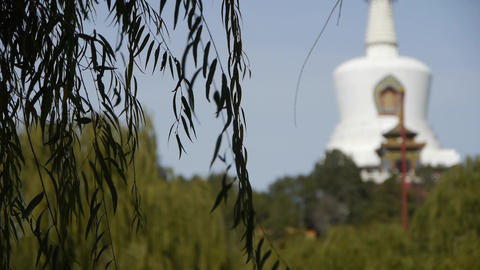 BeiJing BeiHai Park White Tower&Tibetan... Stock Video Footage