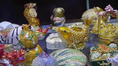 gilded & diamond artwork in store cupboard Stock Video Footage