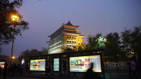 Beijing ancient building night scene,busy traffic & crowd Footage