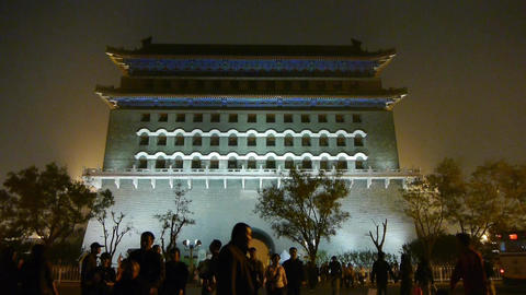 Beijing ancient building night scene,timelapse busy... Stock Video Footage