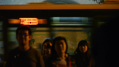 night scene crowd & busy traffic in beijing,ancient... Stock Video Footage