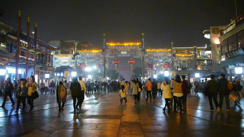 Crowd Walk on Chinatown,China Beijing night market,Neon... Stock Video Footage