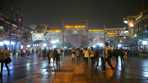 Crowd Walk on Chinatown,China Beijing night market,Neon ancient shop Footage