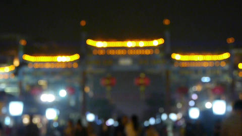 Crowd Walk on Chinatown,blur China Beijing night... Stock Video Footage