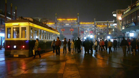 running tram & people walk on Chinatown,China Beijing... Stock Video Footage