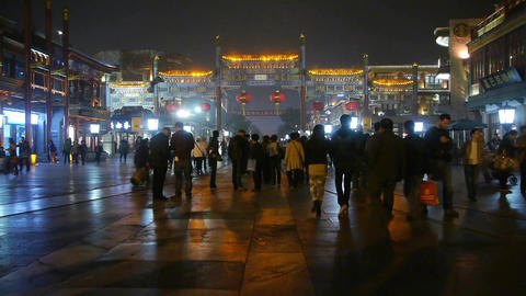 timelapse crowd walk on Chinatown,China Beijing night market,Neon ancient shop Footage