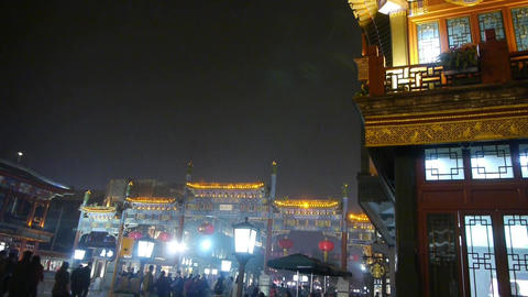 timelapse crowd walk on China Beijing night market,retro... Stock Video Footage