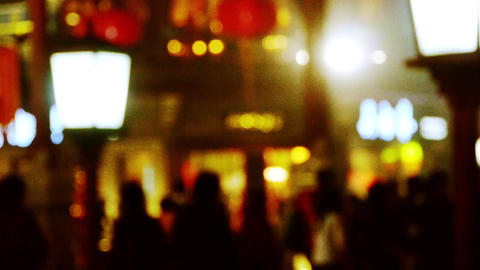 blur busy crowd silhouette on business street at night Stock Video Footage