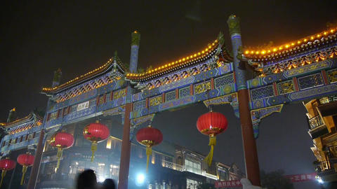 crowd walk on Chinatown,China Beijing night... Stock Video Footage