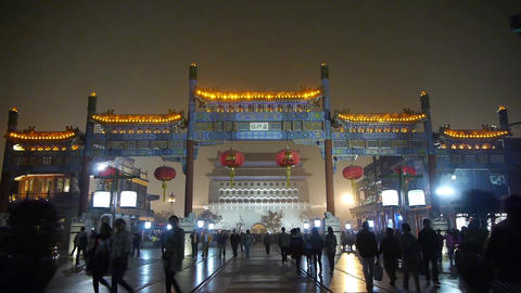 timelapse crowd walk in China Beijing night... Stock Video Footage