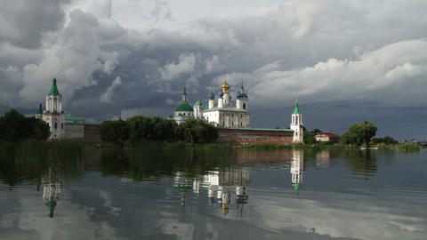 monastery on lake Stock Video Footage