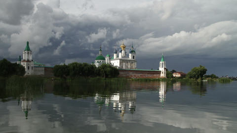 Monastery On Lake stock footage