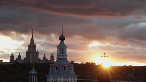 moscow state univercity at sunset Stock Video Footage