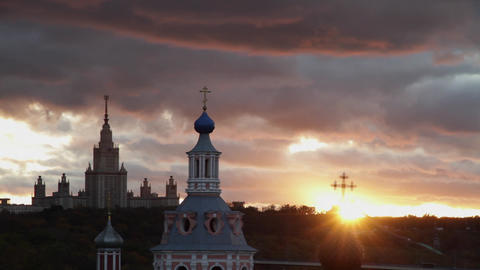 moscow state univercity at sunset Footage