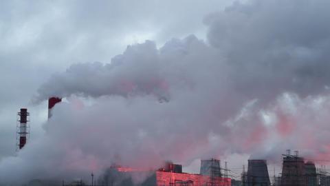 smoking tubes on sunrise Stock Video Footage