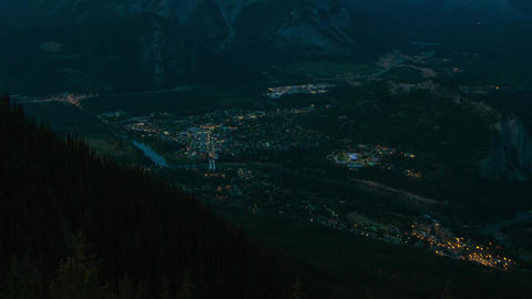 Night Traffic in Banff, Canada Stock Video Footage