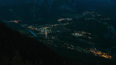 Night Traffic in Banff, Canada Footage