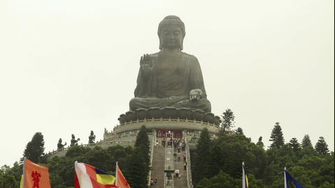 Big Buddha front stairs Stock Video Footage