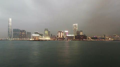 Day to Night Shot of Kowloon Stock Video Footage