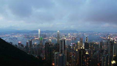 Hong Kong Victoria Harbour Day to Night Timelapse Stock Video Footage