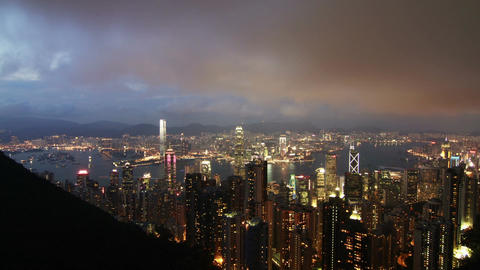 Hong Kong Victoria Harbour Day to Night Timelapse Footage