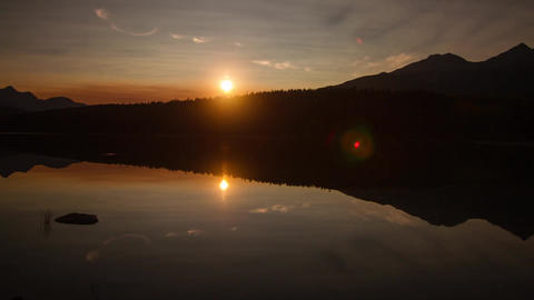Mirror sunset at Pyramid Lake, Jasper Stock Video Footage