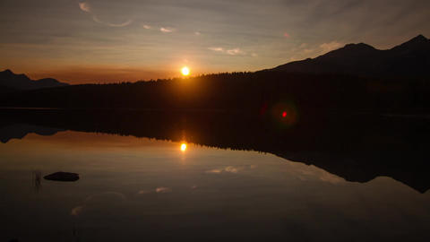 Mirror sunset at Pyramid Lake, Jasper Footage