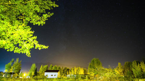 Milky Way Timelapse Background Over Small House And Trees stock footage