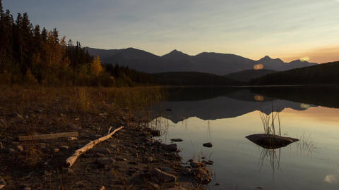 Panning to Sunset over Pyramid Lake at Jasper Footage
