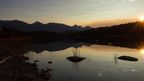 Panning to Sunset over Pyramid Lake at Jasper Stock Video Footage