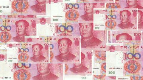 Float looming 100 RMB bills Stock Video Footage