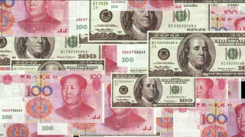 Float looming 100 dollar & 100 RMB bills,exchange rate Animation