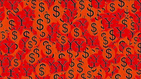 Float USA dollars & China RMB symbol,exchange rate Animation