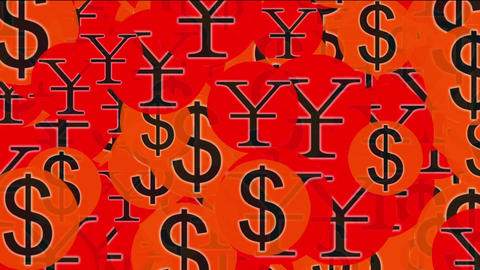 Float USA dollars & China RMB symbol,exchange rate Stock Video Footage