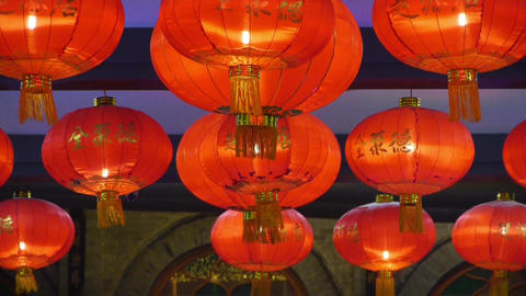 Red lanterns tassel at night,elements of East,china new year Stock Video Footage