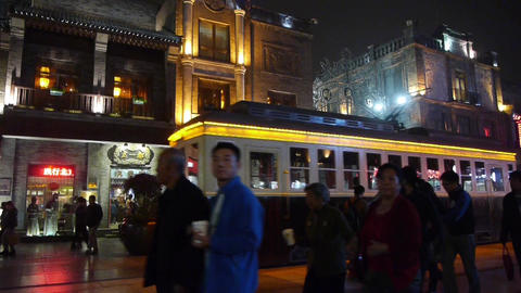 crowd walk in China Beijing night alley street... Stock Video Footage