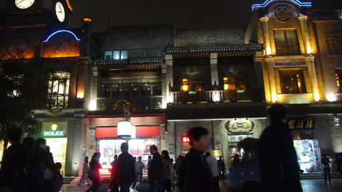 crowd walk in China Beijing night alley street market Footage