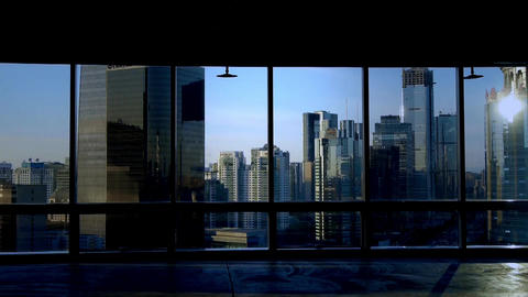 view modern urban architecture from building window in... Stock Video Footage