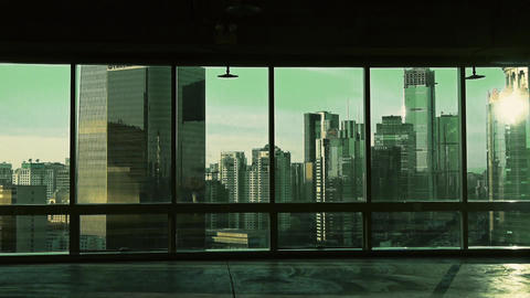 view modern architecture from building window in... Stock Video Footage