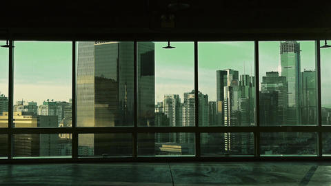 view modern architecture from building window in Beijing,sun pass through window Footage